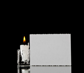 candle and business card