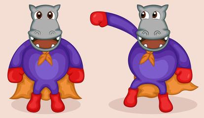 Hippo in Superhero Costume