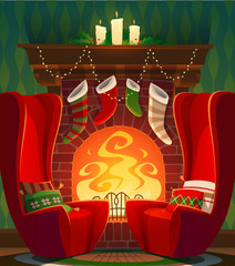 Fireplace. Christmas card