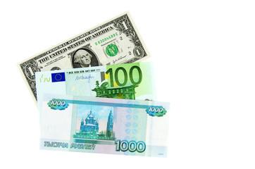 Geldscheine: US-Dollar, Euro, Rubel