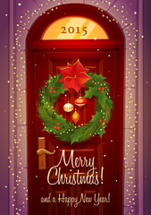 Door decoration. Christmas card