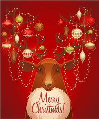 Reindeer with christmas decorated horns. Greeting card