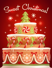Christmas cake. Greeting card