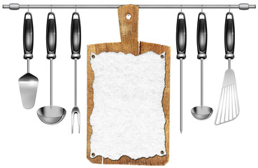 Kitchen Utensils with Cutting Board