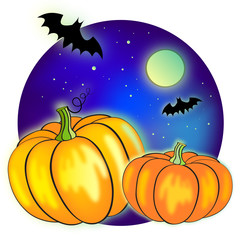 Halloween night vector illustration with full Moon, bats and pum