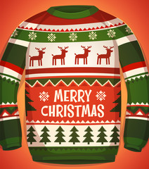 Holiday sweater. Christmas card
