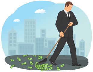 Businessman is holding a rake and gathering the money