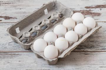 White Eggs in Modern Cardboard Packing
