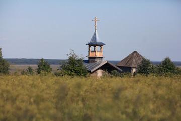 wooden chapel in the field