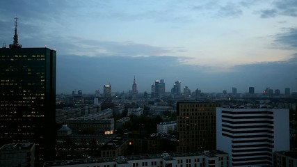 Panorama of Warsaw at dusk