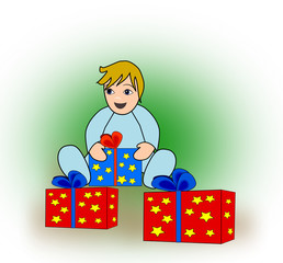 Toddler with Parcels.