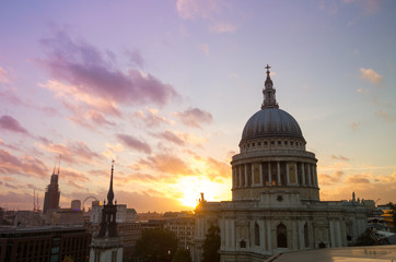 View on St Paul's cathedral at sunset