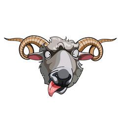 cartoon head horned sheep