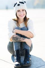 Girl wearing woolen cap