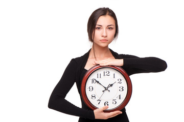 Concept for lateness, woman with clock