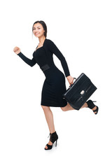 Business woman running with briefcase