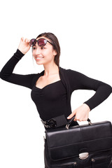 Happy business woman with briefcase