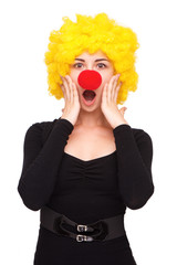 Business woman with clown wig and nose