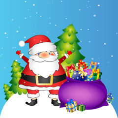 Santa and bag with gifts
