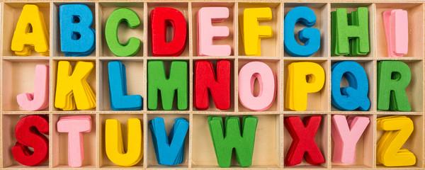 Colorful wooden alphabet letters set