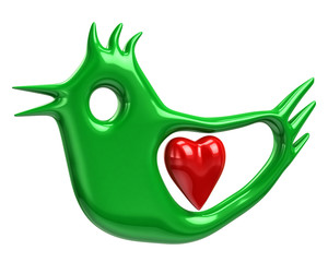 Illustration of green bird and red heart