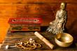 Leinwandbild Motiv Instruments to meditate and pray, tibetan bell, incense, buddha