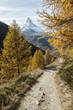 canvas print picture - Wanderweg oberhalb von Zermatt, mit Matterhorn