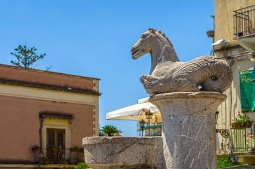 The fountain of Piazza del Duomo in Taormina.