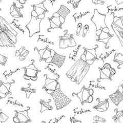 Vector pattern with lingerie on white background