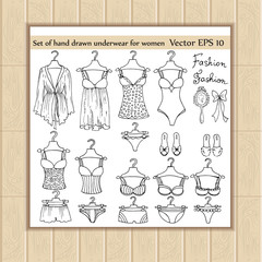 Vector set of hand drawn and fashionable lingerie