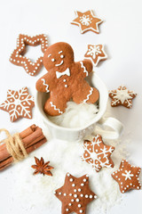 Homemade gingerbread. Gingerbread Man and the stars.
