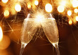 Leinwanddruck Bild - Glasses of champagne with sparklers
