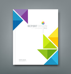 Cover Annual report, colorful windmill paper origami design
