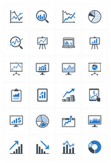 Business Graphs & Charts Icons - Blue Series