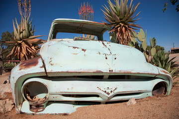 Vintage Car Wreck in the desert of Namibia
