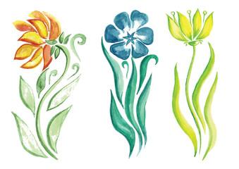 little beautiful watercolor floral bouquet