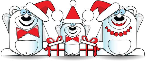 Polar bear family Christmas greeting card