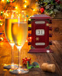 canvas print picture - calendar, December 31, glasses with champagne