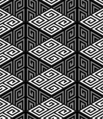 3D Zig Zag Cube Holes, Op Art Vector Seamless Pattern