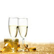 canvas print picture - Champagne and gift