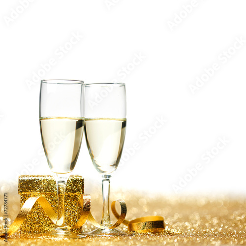 canvas print picture Champagne and gift