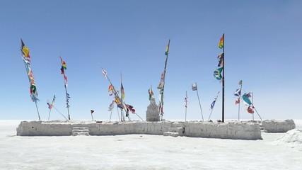 Blowing flags salt desert uyuni