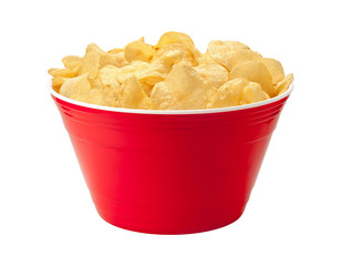 Potato Chips in a Red Bowl