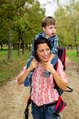 Cute baby with mother travelling