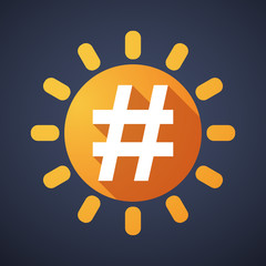 Sun icon with a hash tag