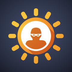 Sun icon with a thief