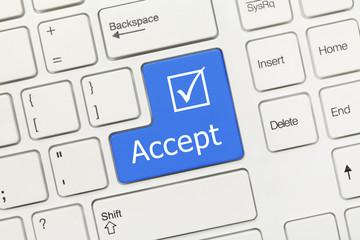 White conceptual keyboard - Accept (blue key)
