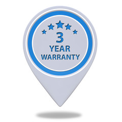 Three year warranty pointer icon on white background