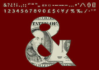 Dollars Banknote Style Font Set - Numbers Punctuatio