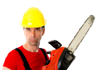 wild man with helmet and chain saw